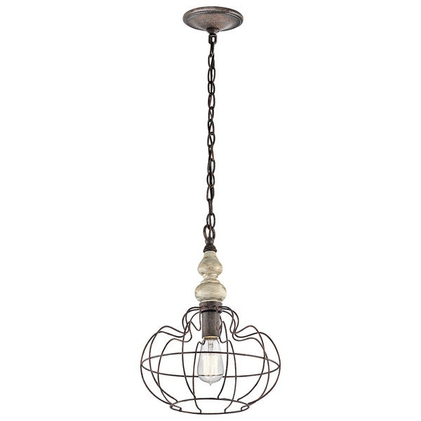Kichler Lighting Getseto Collection 1-light Distressed Antique White Pendant