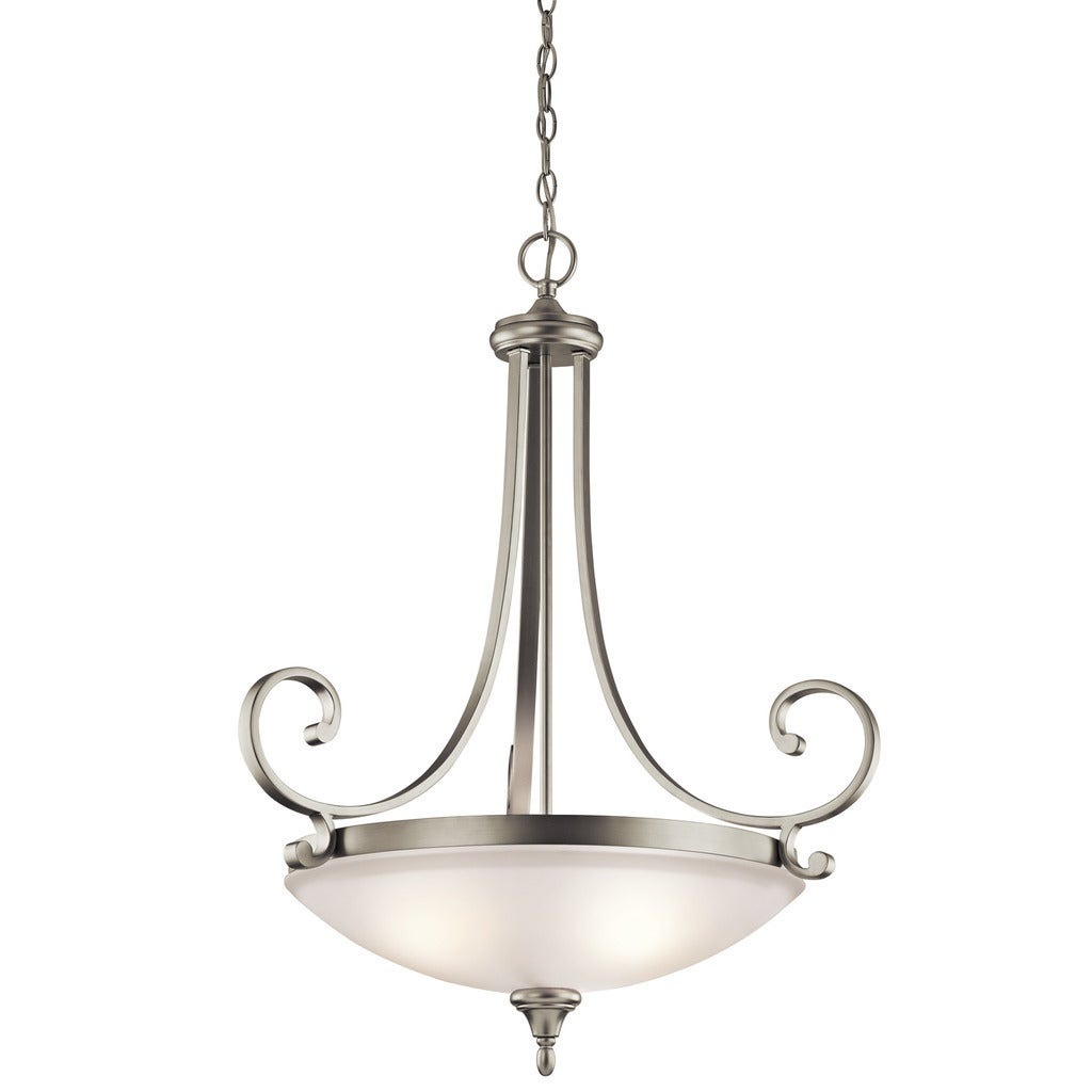 Gracewood Hollow Feraoun Collection 3-light Brushed Nickel Inverted Pendant