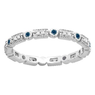 14k Gold 1/4ct TDW Round Blue and White Diamond Eternity Stackable Ring (I-J, I2-I3)