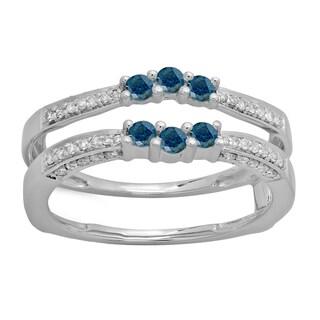 14k Gold 1/2ct TDW Round-cut Blue and White Diamond Wedding Double Ring (H-I, I2-I3)