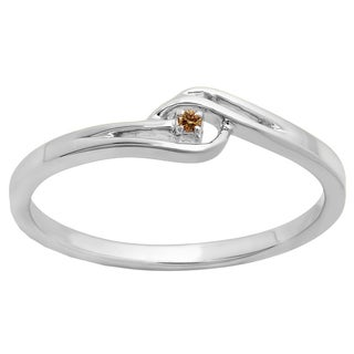 10k Gold 1/50ct TDW Round-cut Champagne Diamond Bridal Bypass Solitaire Promise Ring (I2-I3)