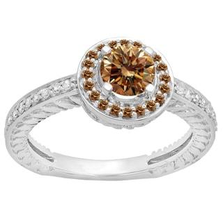 14k Gold 1ct TDW Round-cut Champagne and White Diamond Bridal Ring (H-I, I2-I3)