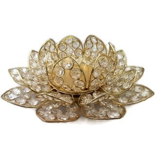 Elegance Beaded Crystal Lotus T-Lite Holder, Gold
