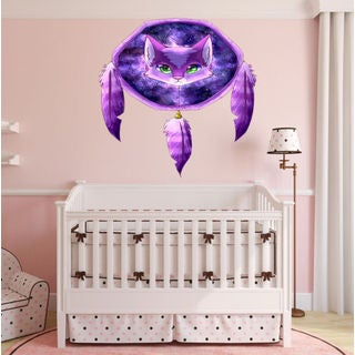 Full color decal Dreamcatcher Cat sticker, Cat wall art decal Jesus Sticker Decal size 33x39
