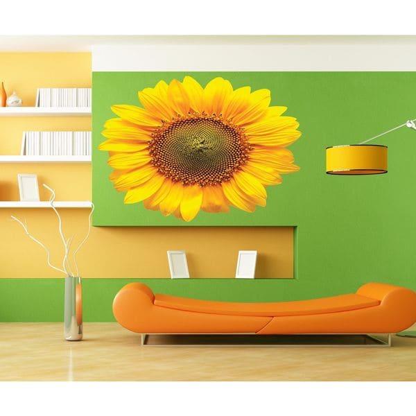 Full color decal Flower sunflower sticker, Flower sun wall art decal ...