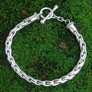 Handcrafted Sterling Silver 'Twist Sphere' Chain Bracelet (Indonesia)