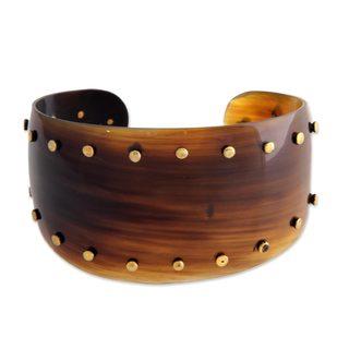 Handmade Cow Horn Brass 'Sunset Harbor' Bracelet (Indonesia)