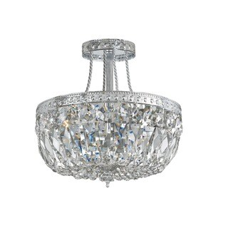 Crystorama Ceiling Mount Collection 3-light Chrome/Swarovski Strass Crystal Semi Flush Mount
