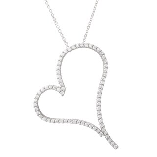 Luxiro Gold Finish Sterling Silver Cubic Zirconia Open Heart Pendant Necklace (2 options available)