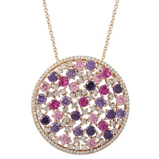 Luxiro Rose Gold Finish Sterling Silver Pink and Purple Cubic Zirconia Circle Pendant Necklace