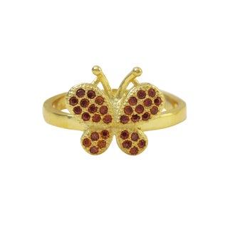 Luxiro Gold Finish Sterling Silver Red Cubic Zirconia Butterfly Children's Adjustable Ring