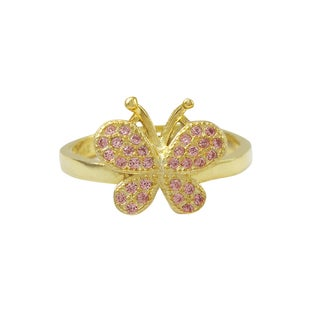 Luxiro Gold Finish Sterling Silver Pink Cubic Zirconia Butterfly Children's Adjustable Ring