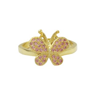 Luxiro Gold Finish Sterling Silver Pink Cubic Zirconia Butterfly Children's Adjustable Ring (4 options available)