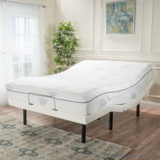 Kirke Queen Size Aloe Gel Memory Foam Adjustable Mattress Set by Christopher Knight Home