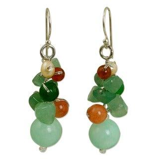 Handcrafted Sterling Silver 'Lemongrass' Multi-gemstones Pearl Earrings (4 mm) (Thailand)