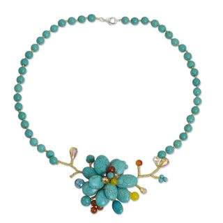 Handcrafted Sterling Silver Overlay 'Amsonia in Bloom' Multi-gemstone Necklace (Thailand)