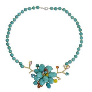 Handmade Sterling Silver Overlay 'Amsonia in Bloom' Multi-gemstone Necklace (Thailand)