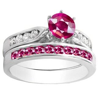 14k Gold 1ct Round Pink Ruby and White Diamond Bridal Ring Set (H-I, I1-I2)