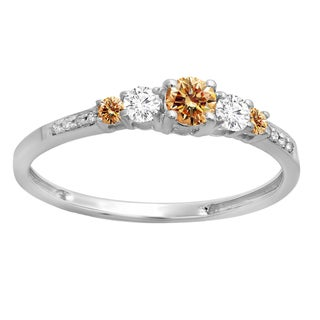 14k Gold 3/8ct Round-cut Champagne and White Diamond Bridal 5 Stone Ring (H-I, I1-I2)