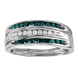 Sterling Silver 1/2ct TDW Blue and White Diamond Wedding Stackable 3-piece Ring (I-J, I2-I3)