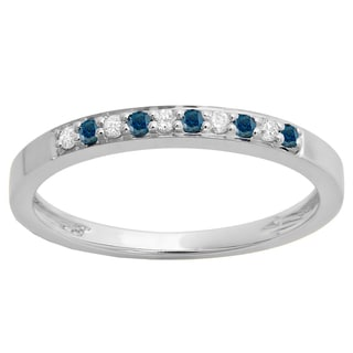 10k Gold 1/6ct TDW Round Blue and White Diamond Anniversary Stackable Ring (I-J, I2-I3)