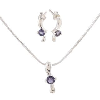 Handcrafted Sterling Silver 'Flight' Iolite Jewelry Set (India)