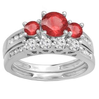 10k Gold 1 3/4ct Round Red Ruby and White Diamond Bridal Ring Set (H-I, I1-I2)