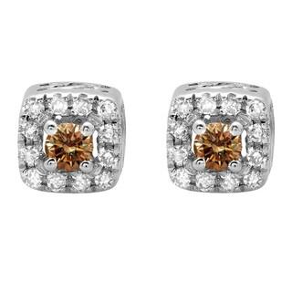 18k White Gold 1/4ct TDW Round-cut Champagne and White Diamond Halo Stud Earrings (J-K, I2-I3)