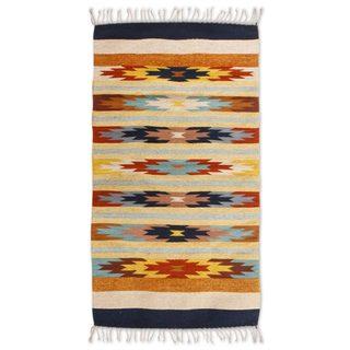 Handmade Zapotec Wool 'Floral Stars' Rug (Mexico) - 3' x 5'