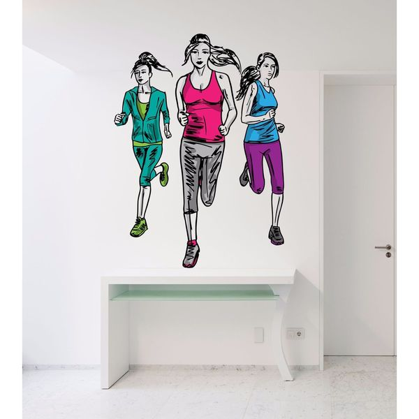 shop full color decal running girl sticker, running girl save wall
