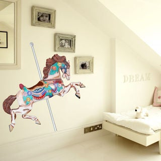 Full color decal Carousel horse sticker, Carousel horse wall art decal Sticker Decal size 48x57