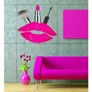 Full color decal Lips lipstick kiss cosmetics sticker, wall art decal Sticker Decal size 22x26