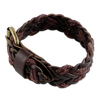 Handcrafted Leather Brass 'Chiang Mai Braid in Brown' Bracelet (Thailand)