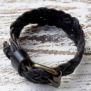 Handmade Leather Brass 'Chiang Mai Braid in Black' Bracelet (Thailand)