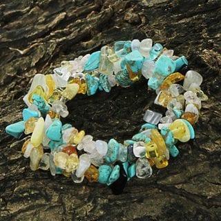 Set of 3 Handcrafted Multi-gemstone 'Ocean Trio' Bracelets (Brazil)