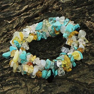 Handmade Set of 3 Multi-gemstone 'Ocean Trio' Bracelets (Brazil)