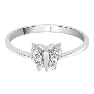 14K White Gold 1/6ct TDW Diamond Butterfly Ring
