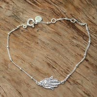 Handmade Sterling Silver 'Silver Hand' Bracelet (Indonesia)