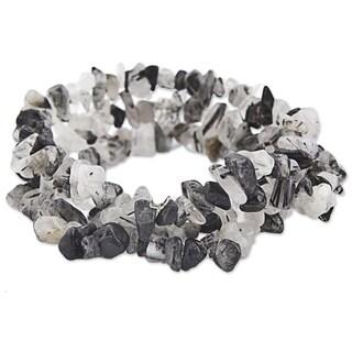 Set of 3 Handcrafted Quartz Tourmaline 'Monochromatic' Bracelets (Brazil)