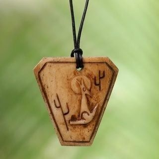 Handcrafted Bone Leather 'Coyote Song' Necklace (Indonesia)