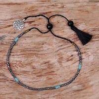 Handmade Sterling Silver 'Silver Lotus in Black' Onyx Bracelet (Indonesia)