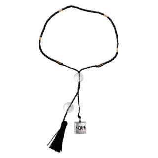 Handcrafted Sterling Silver 'Hope Charm in Black' Quartz Bracelet (Indonesia)