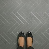 SomerTile 1.75x7.75-inch Victorian Soho Subway Glossy Light Grey Porcelain Floor and Wall Tile (10 tiles/1 sqft.)