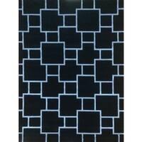 Machine-made Liza Black Polypropylene Area Rug (8' x 10')