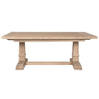 Harlan Stone Wash Double Pedestal Extension Dining Table - Beige