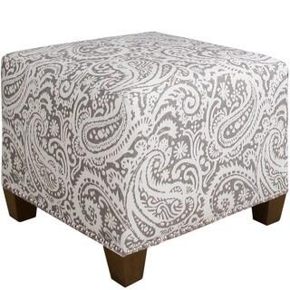 Skyline Furniture Modern Grey Paisley Print Ottoman