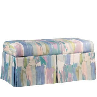 Skyline Furniture Skirted Syncopation Periwinkle Print Storage Bench