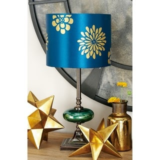 Braxton Blue, Gold, and Silver  Metal and Glass Table Lamp Pair