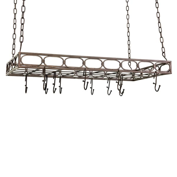 Old Dutch Oiled Bronze Rectangular Pot Rack with 16 Hooks