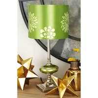 Set of 2 Modern 19 Inch Green Floral Print Table Lamps by Studio 350